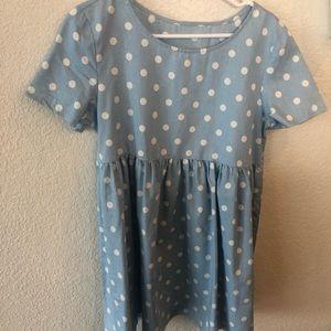 Polka dot smocked baby doll dress size Large